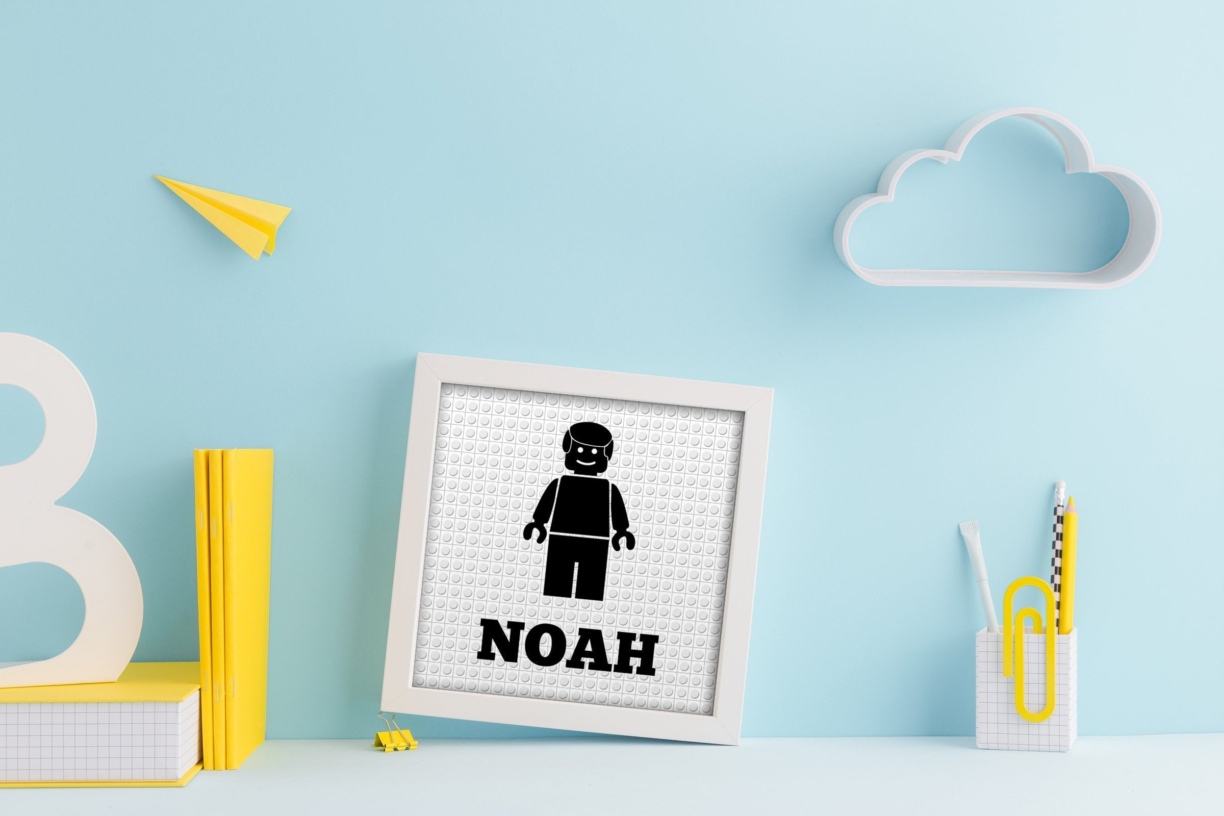 LEGO inspired, minifigure, name art, Personalized Lego decor, gift, Print, Children's art, Kids room, name, nursery, Lego Name Prints, baby