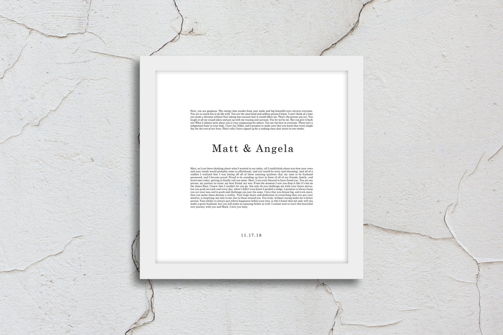 First Anniversary Gift, wedding vow, art, gift, Printed vows, His and Her, print, Anniversary, for him, for her, for wife, Christmas