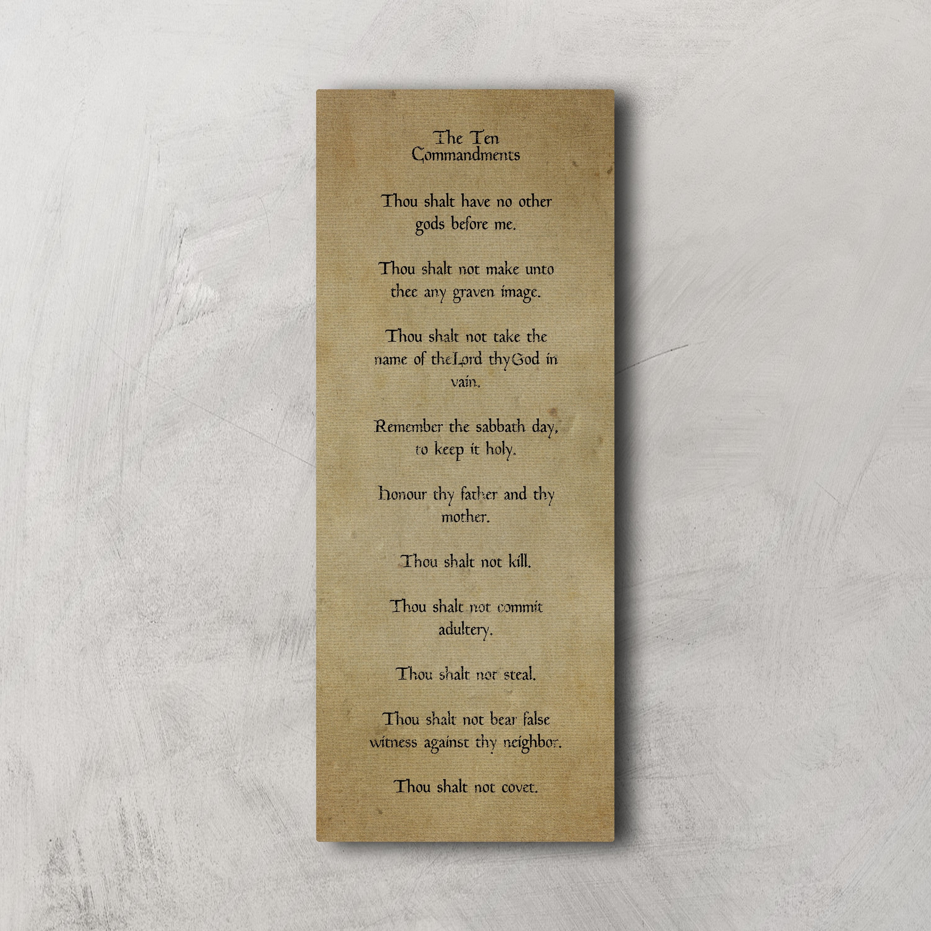 Vintage Ten Commandments On Canvas, Tan Decor for the Den, Antique Religious Wall Art, Religious Canvas Decor, Gift for pastor, Foyer Decor