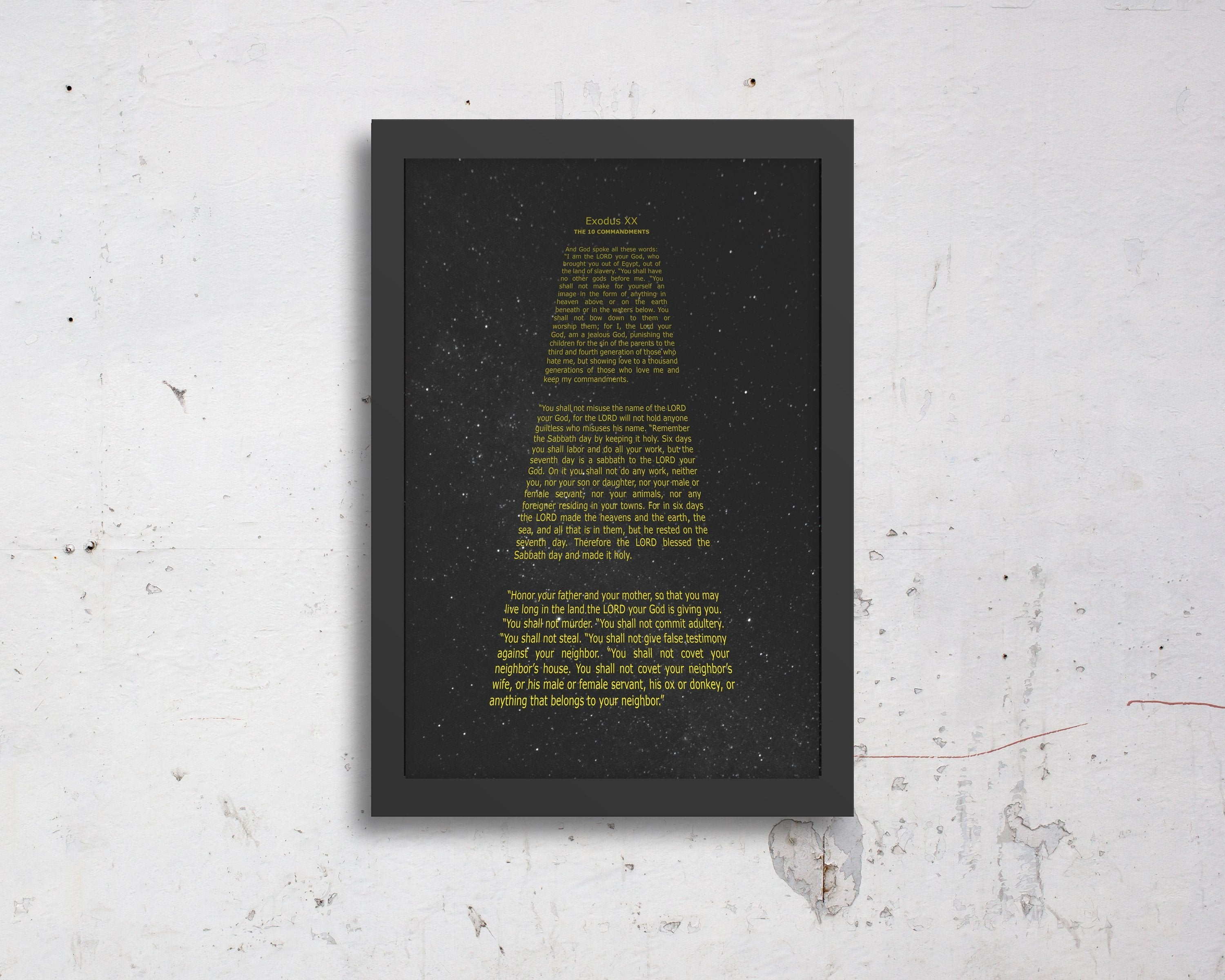 The 10 Commandments, Crawl, Sci-fi, Geek, customize, wall, art, gift, Bible verse, prints, Scriptures, on canvas, Framed, gifts, Christmas