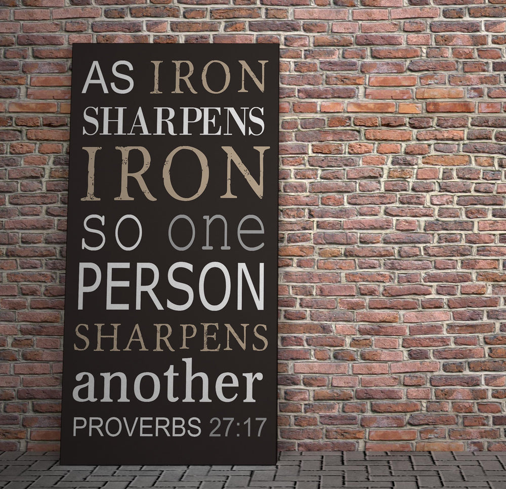 Iron Sharpens Iron, Canvas Sign, Proverbs 27:17 Canvas, Religious Decor, Gift, Pastor, Christan Wall Art, Men's Christian Art, for Friend