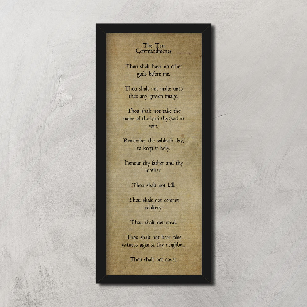 Vintage 10 Commandments Decor, Old World Religious Decor, Old Scripture Canvas, Ancient Decor, Religious Decor for Den, Pastor Office gift