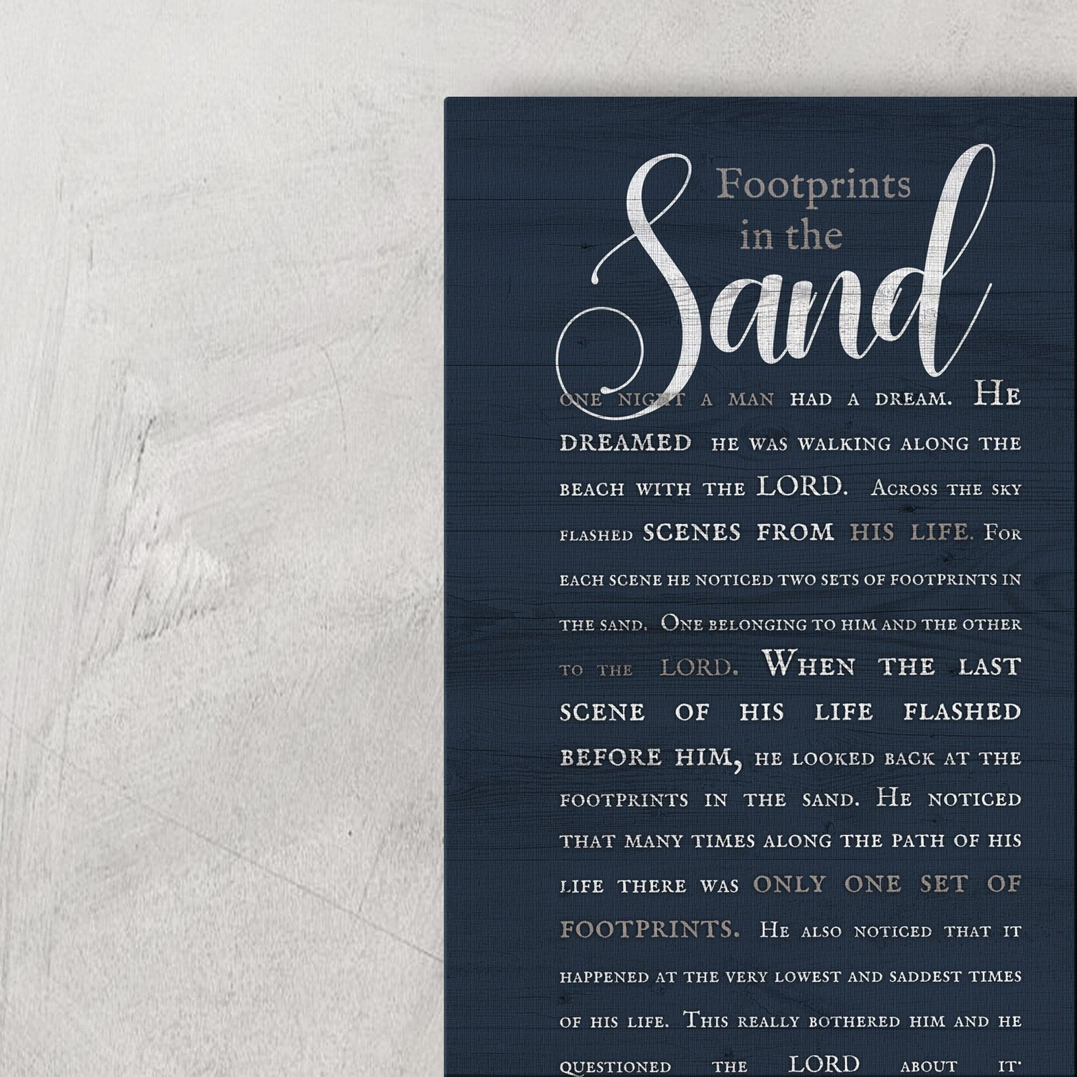 Housewarming Gift for Beach House, Footprints in the Sand Poem on Canvas, Large canvas wall decor, Meaningful gift for best friend, Nautical