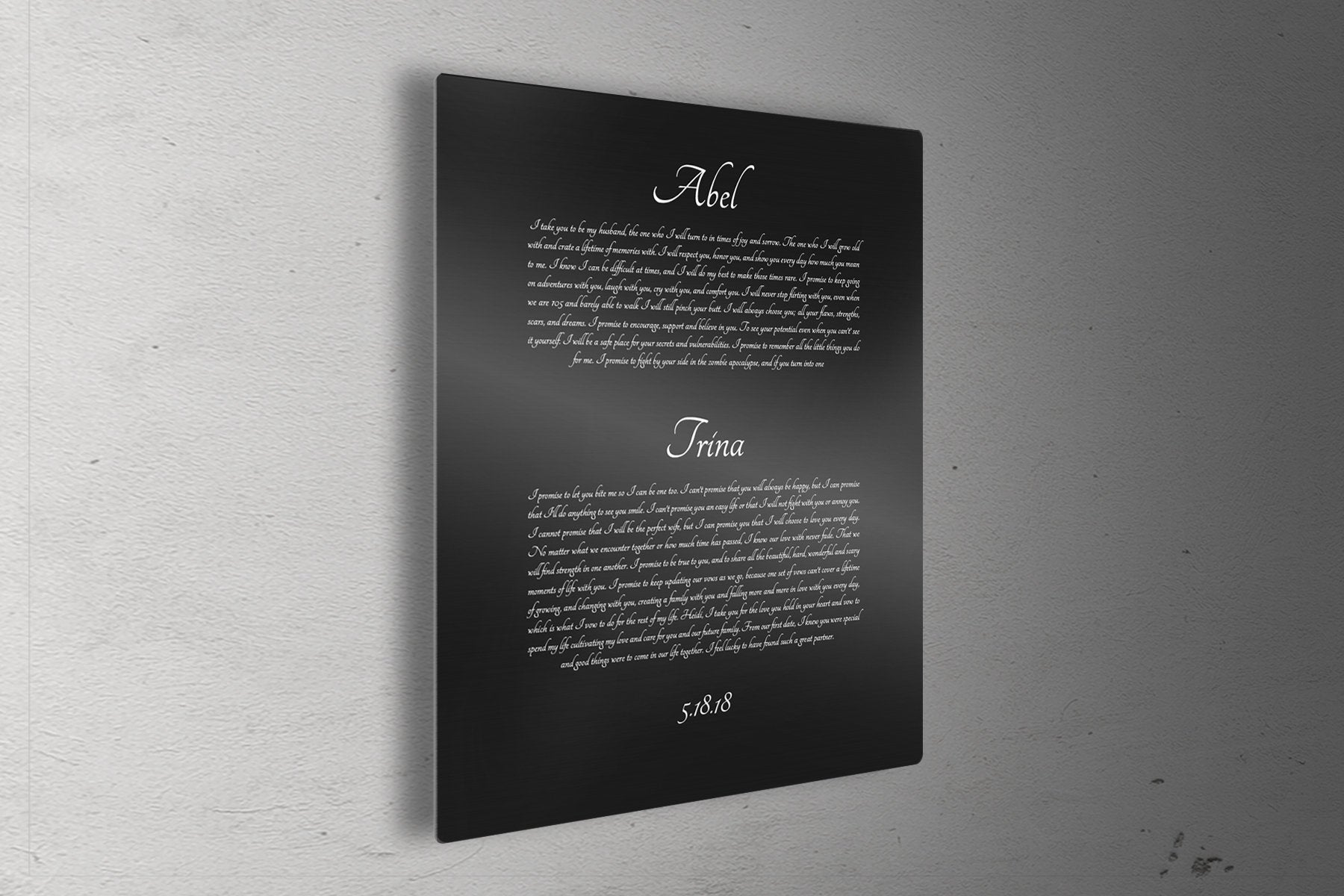 Wedding Vows Printed on Metal, Modern, Anniversary, Wedding, 10th, gift, for husband, for wife, Aluminum, Panel, His and Hers, Vow, Tin