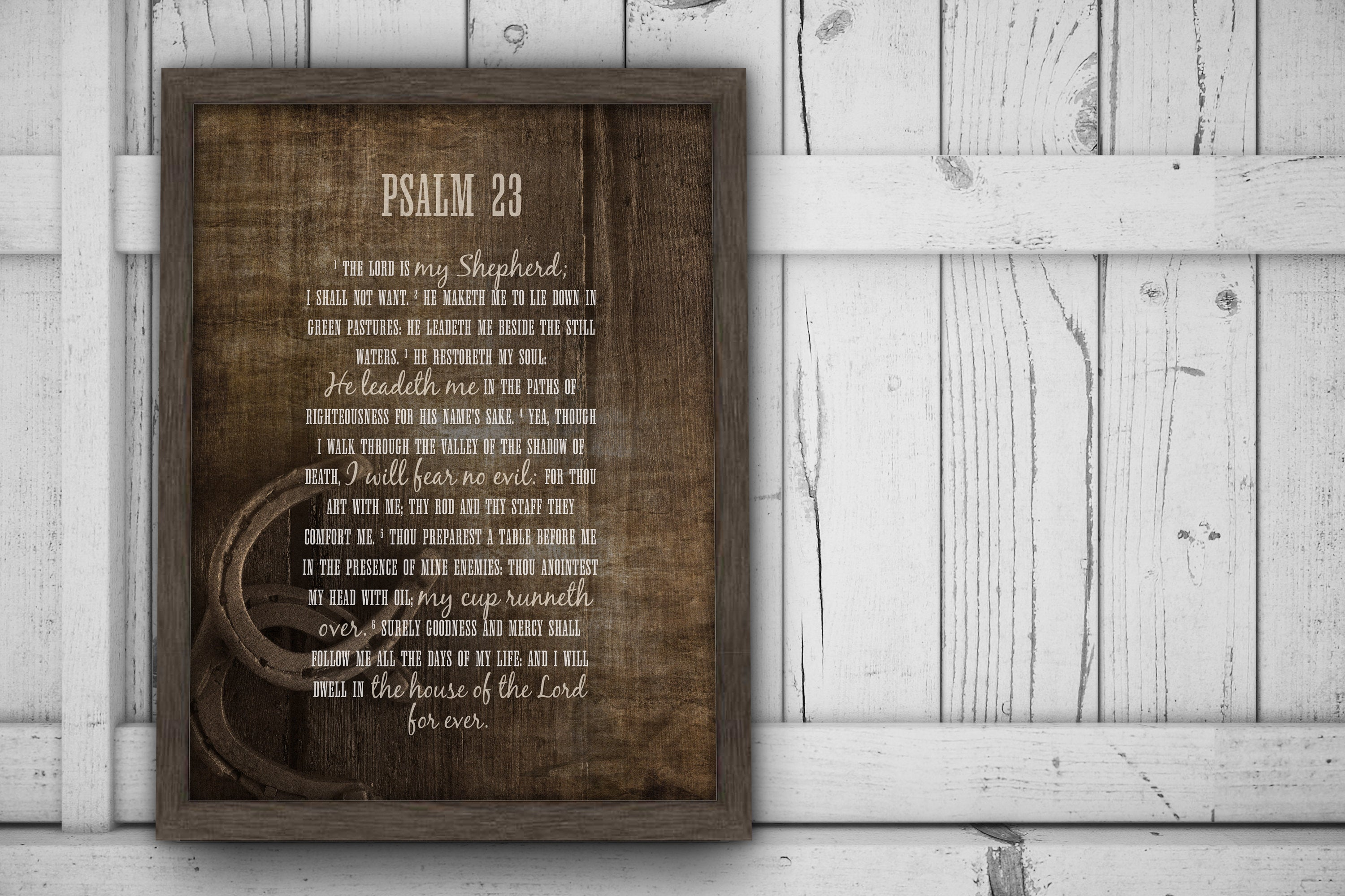 Psalm 23 Farmhouse Art, Rustic Christian Wall Art, Framed Christian Art, The Lord Is My Shepherd, Christian Wood Art, Horseshoe, Weathered