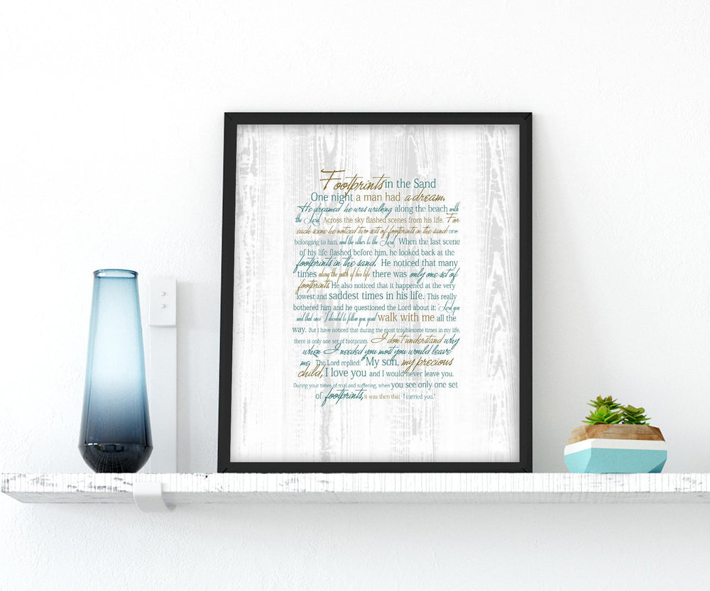 Footprints Poem, Framed Print, gift, Christian, friend, pastor, beach house,decor, nautical, fine art, sea, ocean, footprints in the sand