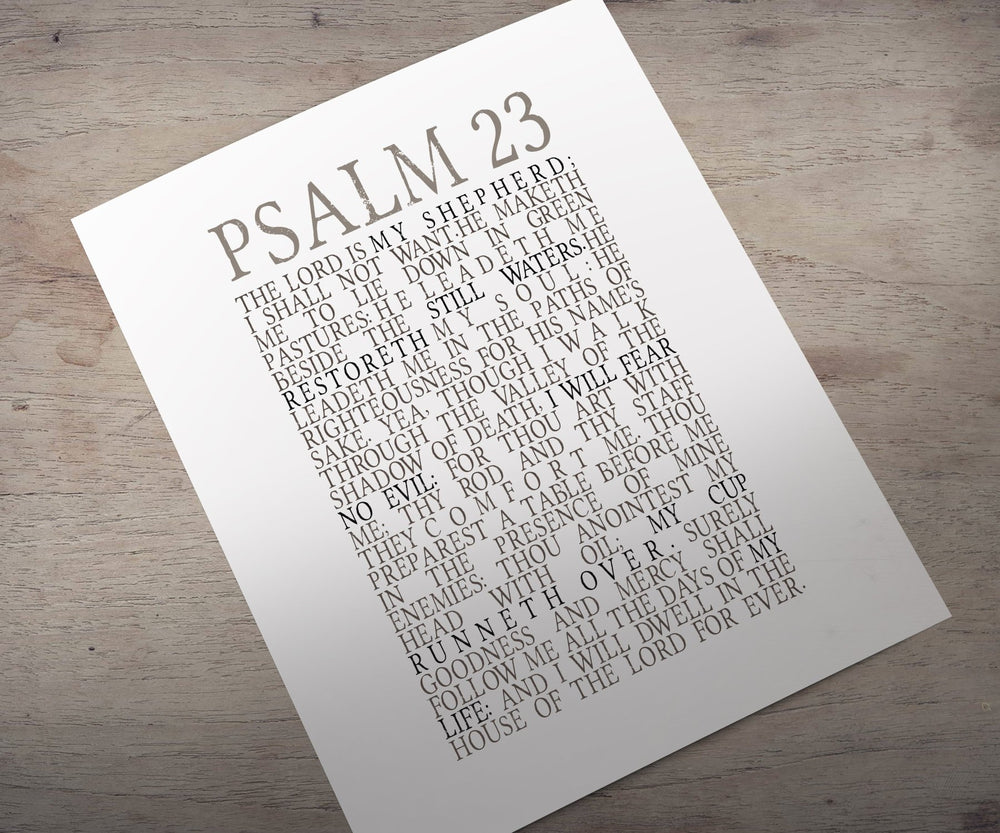 Psalm 23, Framed Scripture Print, Bible Verse Print, The Lord is my Shepherd, christian subway, decor, gift, inspirational, friend, best