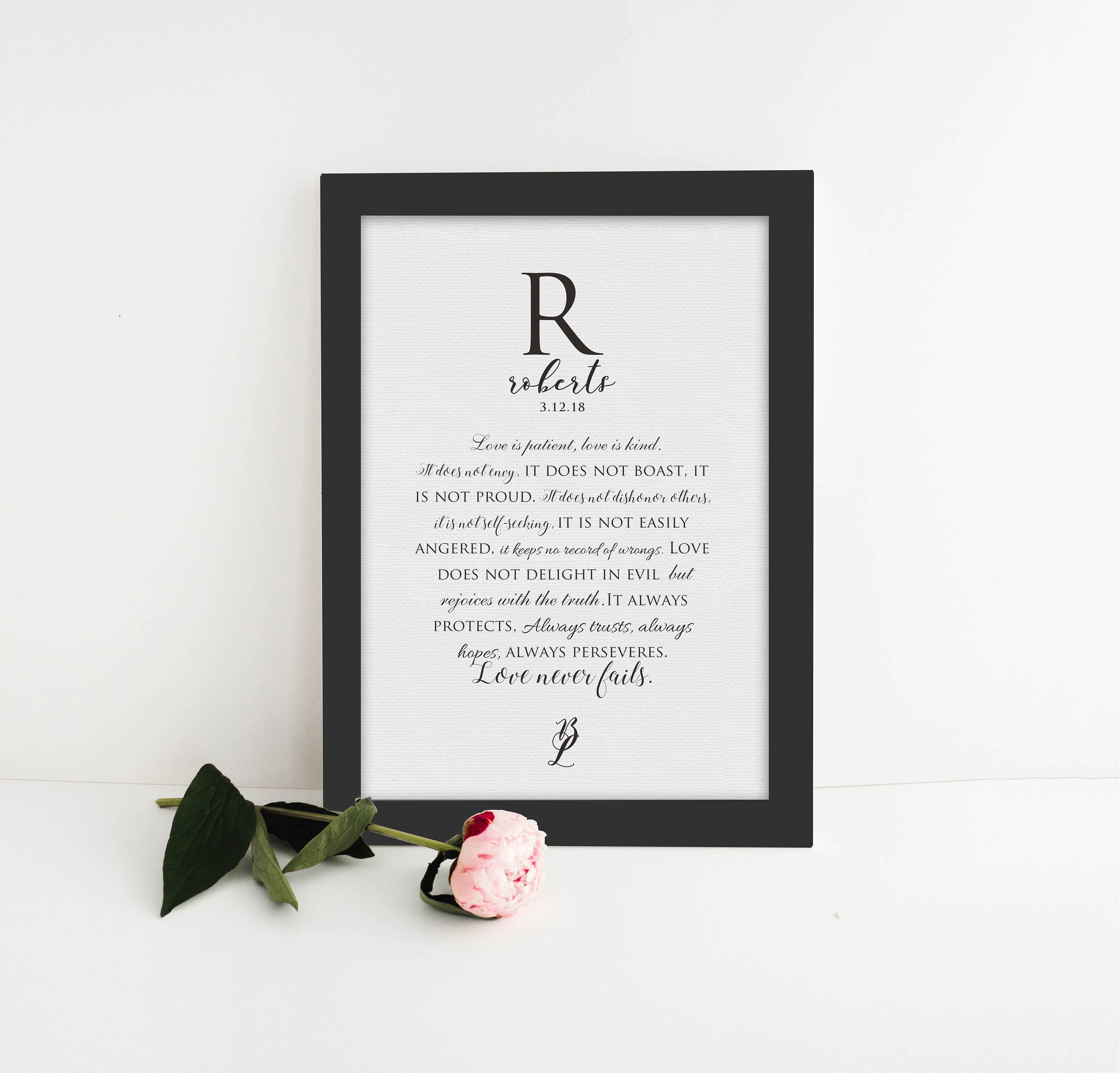 Love is patient, love is kind, personalized, wedding, gift, for wife, Framed, Canvas, Anniversary, paper, husband, 1st anniversary, 1 Cor 13