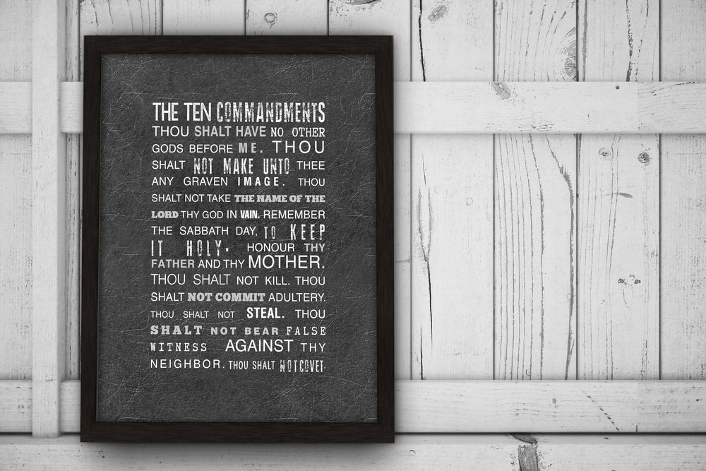 Framed 10 Commandments, Exodus 20 Art Print, Christian Wall Decor for Him, Bible Verse Subway Art, Distressed Christian Art, Ten Commandment