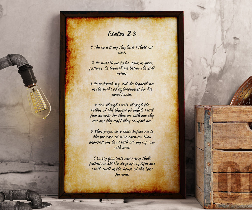 Framed Psalm 23, Old World Parchment Decor, The Lord is My Shepherd, Christian Decoration for Home, Popular Framed Passages, Scripture Print
