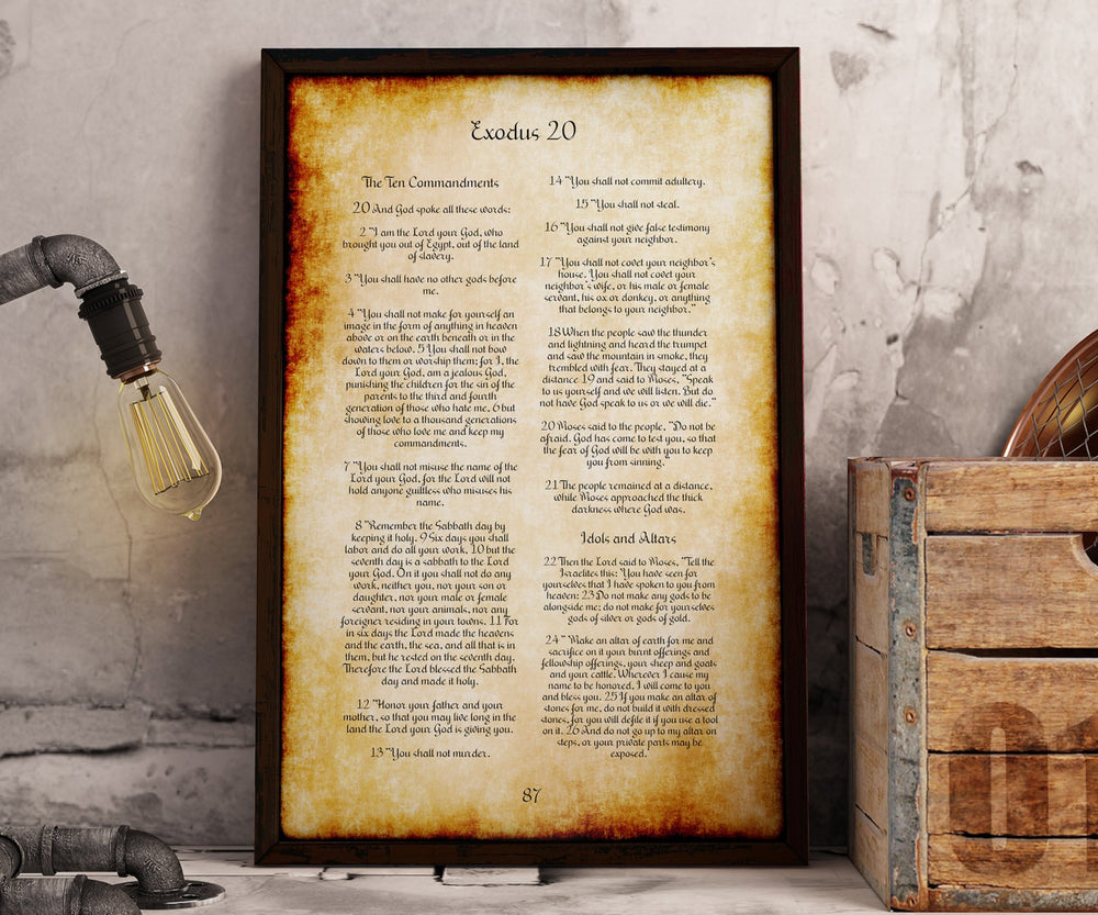 Framed 10 Commandments, Old World Parchment Decor, Christian Decoration for Home, Popular Framed Passages, Scripture Print