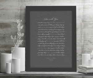 Framed Wedding Song, Die With You, Bride and Groom First Dance, Gift for Bride from Groom, Romantic Bedroom Decor, Paper gift for husband