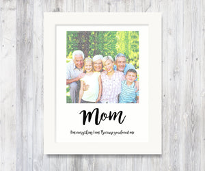 Song Lyric Portrait, Because You Love Me, Gift for Mom from Kids, Personalized Mom Gift, Mother's Day Gift, From Grandkids, Word Portrait