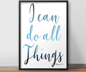 Philippians 4:13, I Can Do All Things, Inspirational Poster, Christian Framed Art, Modern Religious Decor, Ombre Word Art, Minimalist, Frame