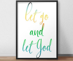 Let Go and Let God, Inspirational Poster, Christian Framed Art, Modern Religious Decor, Ombre Word Art, Minimalist, Frame, Recovery, Uplift