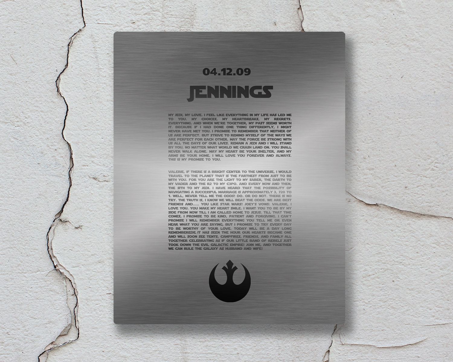 Custom Metal Print, Rebel Alliance, Gift for him, Metal Bedroom Wall Decor, Custom Metal Sign,  anniversary, Wedding Vows on Metal