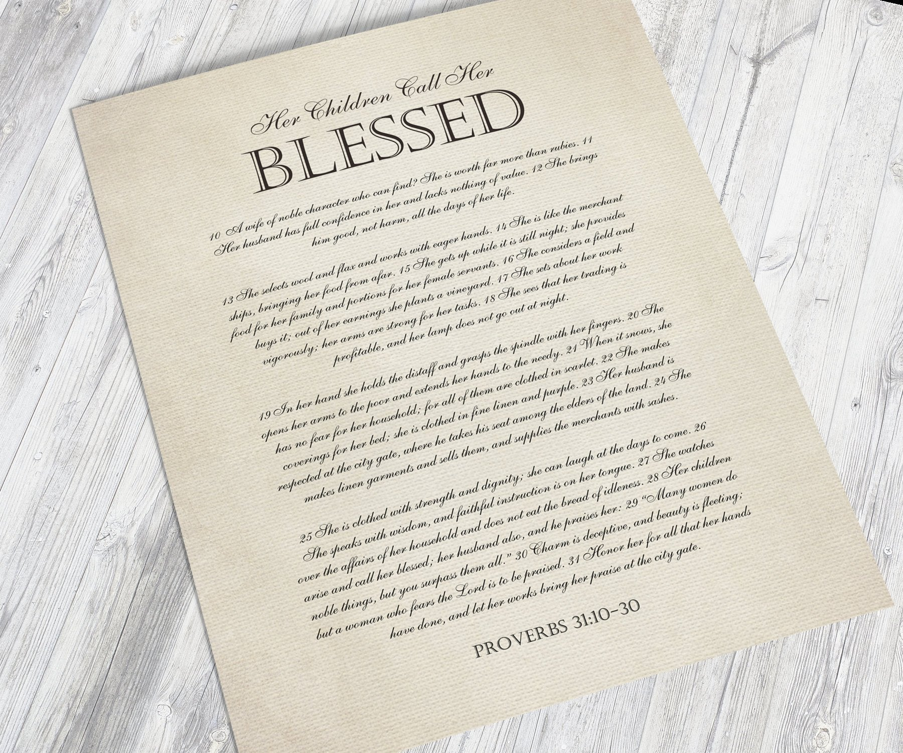 Her Children Call her Blessed, Framed Christian Gift, for Mother, Proverbs 31:10-30, Gift for Wife, Mother's Day Keepsake from Kids, Prov 31