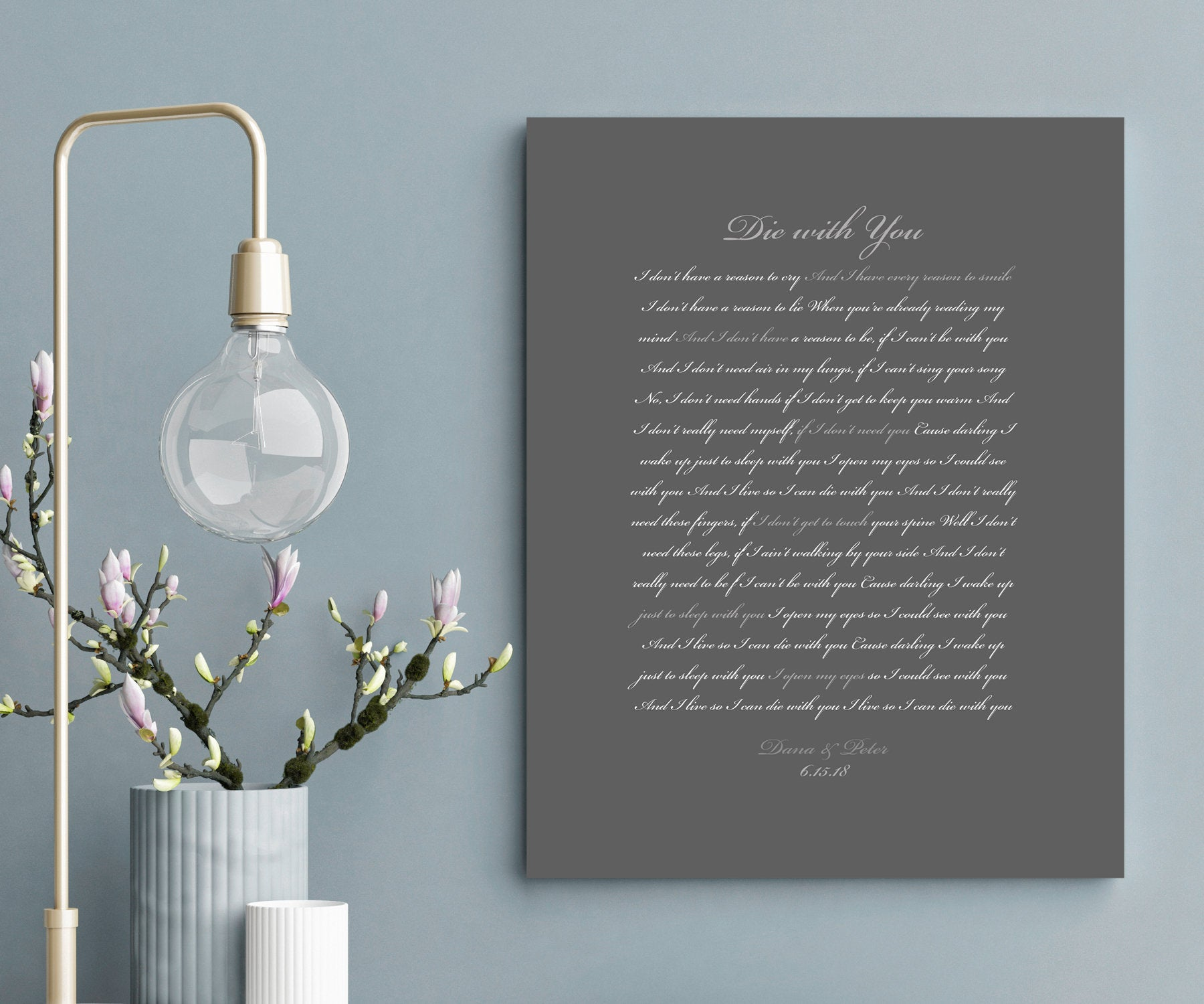 Song Lyrics on Canvas, Custom Printed Quote, modern anniversary gift, Romantic Bedroom decor, Sister Wedding Gift, Wedding Date Print