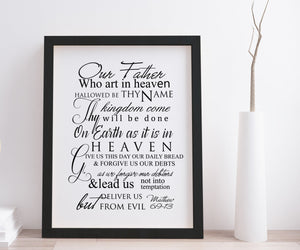 The Lord's Prayer Framed Decor, Christian Wall Art,Inspirational Decor, Our Father Who Art in Heaven, Mathew 6, Popular Christian Prayer,
