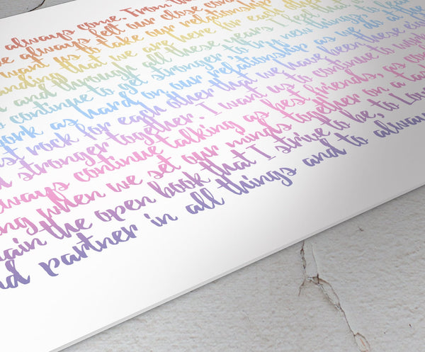 Metal Ombre Wedding Vow Print, Personalized Quote, Wall Decor, Colorful Gift, 10 Year Wedding Annivesary Metal, Modern Bedroom Wall Art, Vow