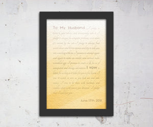 Framed Wedding Vows, Custom Paper Anniversary Gift, Ombre Walll Decor, Anniversary Gift for Wife, Modern Romantic Gifts, For Her, Print Vows