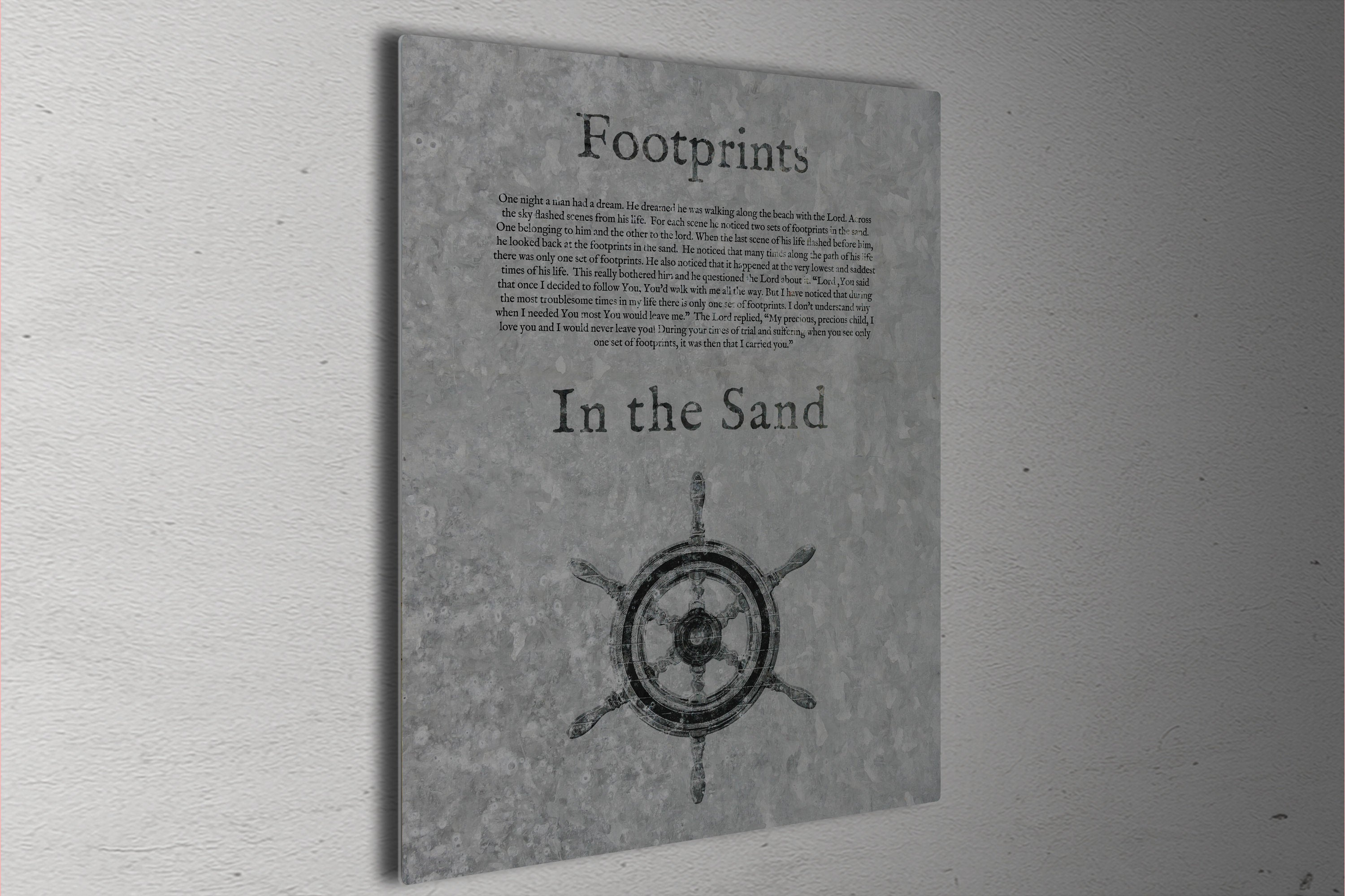 Footprints in the Sand, Galvanized Metal Sign, Footprints Poem, for Him, Christian Decor, Religious Art for Beach house, Gift, Christian Men