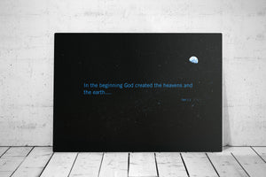 Genesis 1:1, Metal Sign, In the beginning, God created, Geek, Scripture, Star Wars fan, Bible Verse Print, Gift for husband, 10th, tin gift