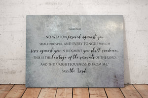Isaiah 54:17, On Metal, No weapon forged against you shall prosper, Tin Gift, Christian, Scripture Print, Religious Wall Decor, Masculine