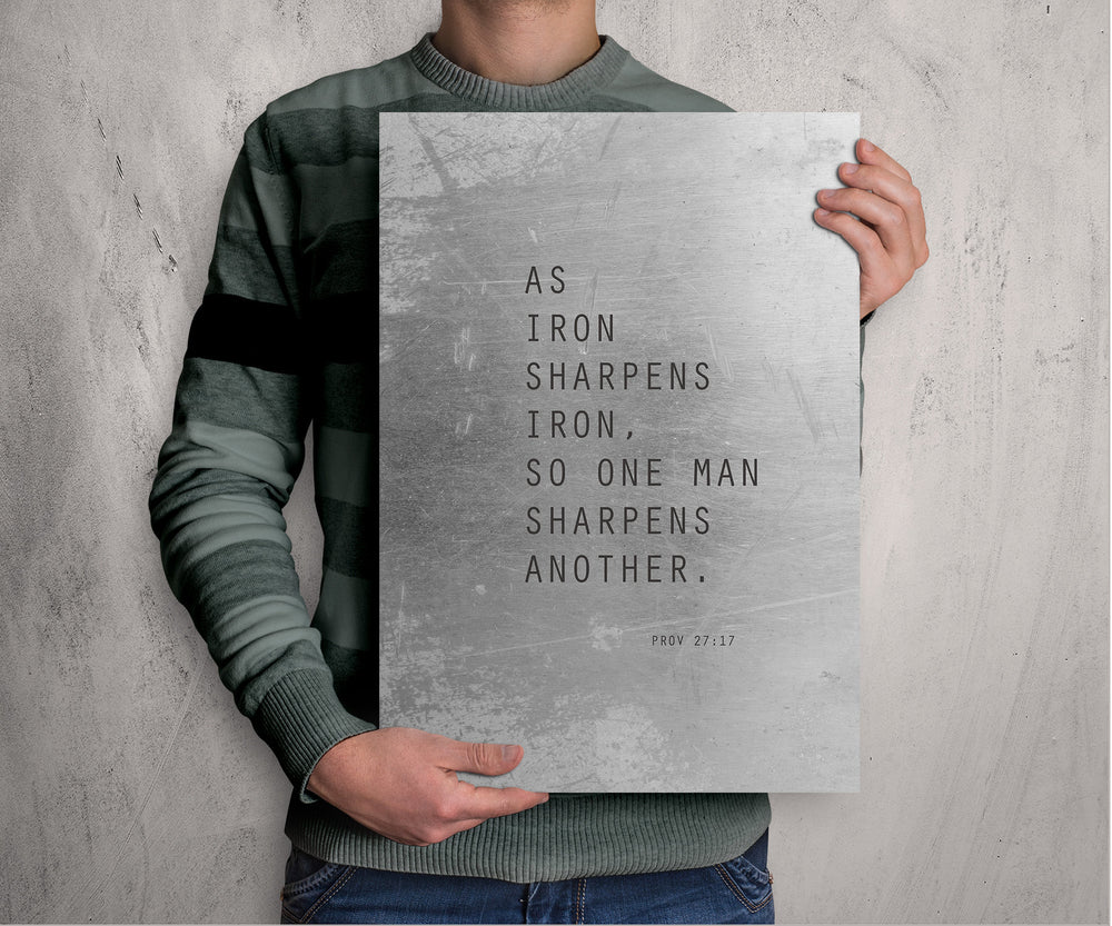 Proverbs 27:17 Metal Print, As Iron Sharpens Iron, Scripture Decor, Bible Verse Art, Christian Wall Decor, Modern, Unique Gift for Men,
