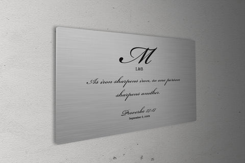 Iron Sharpens Iron, Couple's art, Wedding gift for bride and groom, 6th Anniversary, Gift Metal Print, Proverbs 27:17, Iron Anniversary Gift