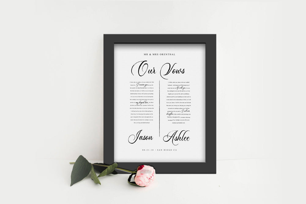 Printed Wedding Vow, Wedding Vow Print, Paper Gift for 1st Anniversary, His and Her, Framed Vows, 1 year Paper Gift for Wife, Vows Framed