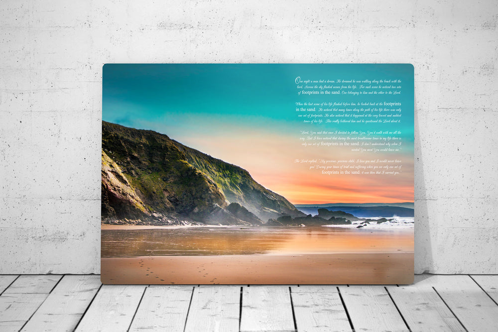 Footprints in the Sand, Print on Metal, Modern Beach Decor, Aluminum Print, Footprints, Poem, Unique Art, Gift, Pretty, Beach Picture, Decor