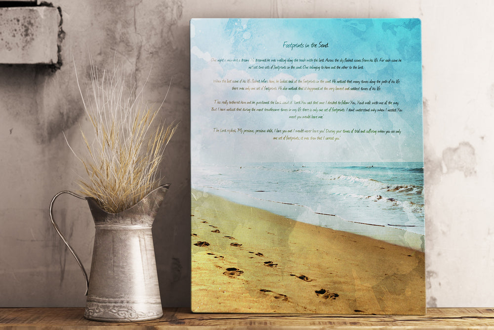Footprints in the Sand, Distressed Watercolor Art, Metal Print, Footprints, Poem, Gift for her, Tenth Anniversary, Christian Beach Decor
