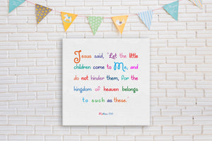 Matthew 19:14 on Canvas,Kid's Christian Canvas,Bible Verse Decor for Kids,Children's Wall Art, Bible Verse Decor,Children's Scripture Print