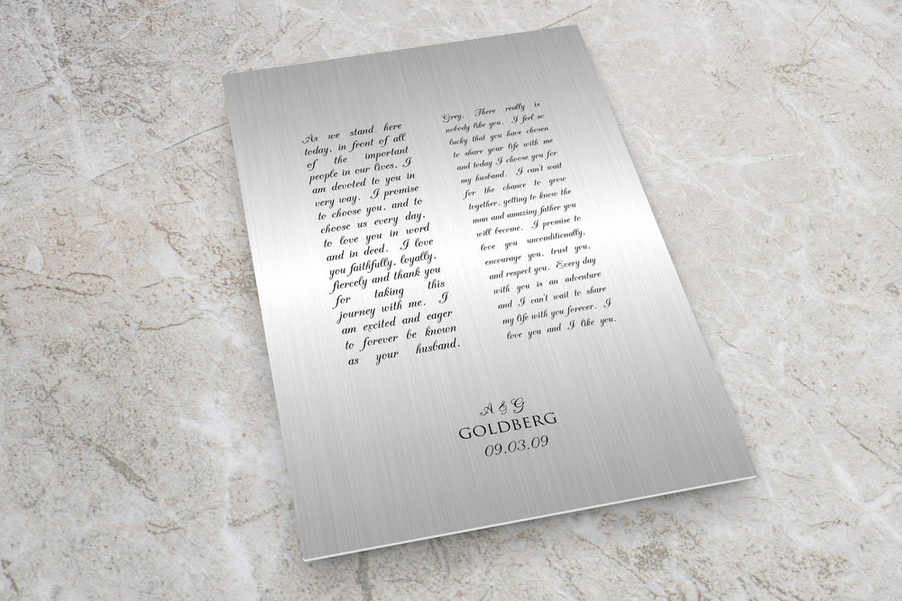 Custom Tin Wedding Vow Art, Metal Wall Decor for Him, Gift for 10th Anniversary, Modern Gift for Husband, Metal Gift For Men, Vows Printed