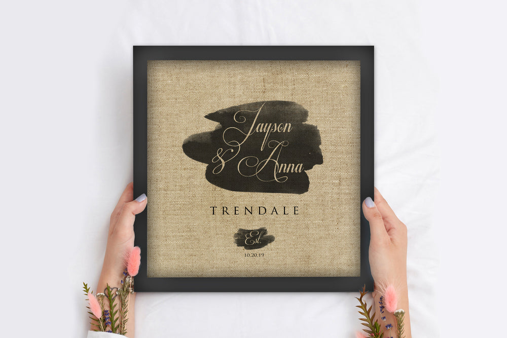 Rustic Name and Date Art, Linen Gift for Wife, Wedding Gift Personalized, Linen Anniversary Gift, Framed Wedding Date, 4 Year Anniversary