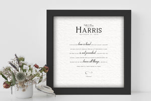 Framed Wedding Poem, Framed 1 Cor 13:4-7, Personalized Gift for Couple, Paper Gift for Wife, Love is patient love is kind, 1st Anniversary
