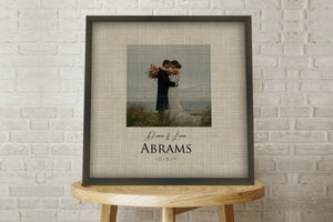 4th Anniversary Gift on Linen, Photo on Linen, Wedding Date Framed, Custom Linen Print, Anniversary Gift for 4 Year, 4th Anniversary Linen
