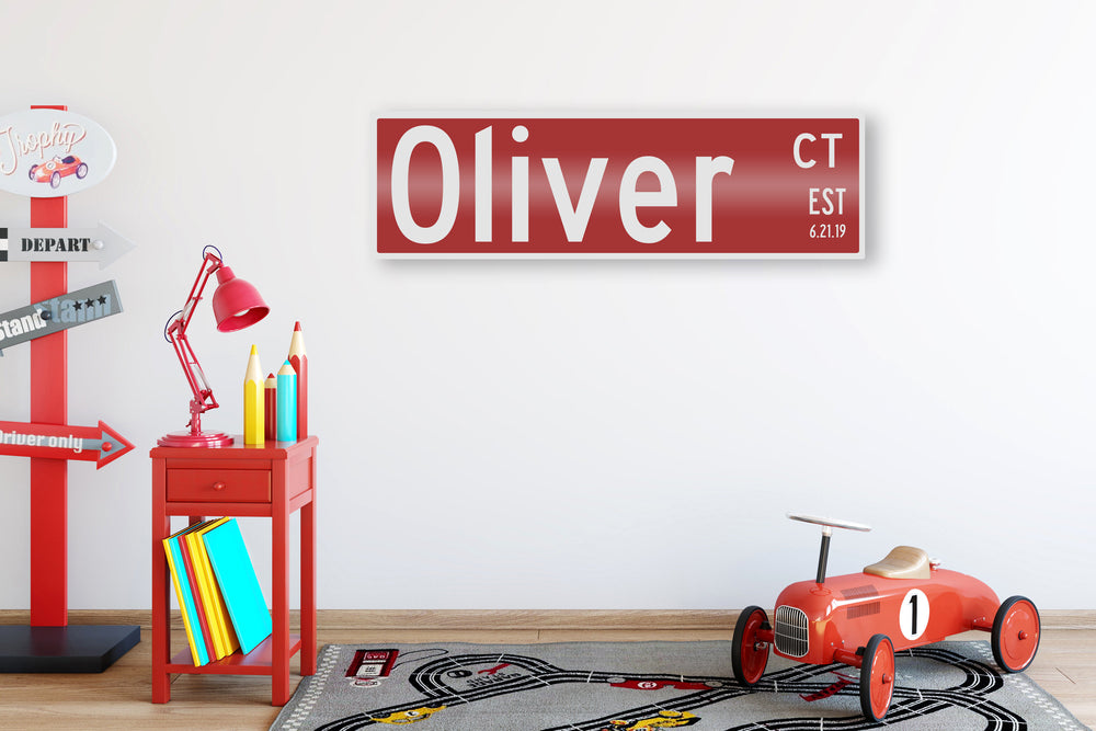Child Name Sign, Custom Metal Street Sign, Name Art for Kids, Childrens Bedroom Decor, Decor for Nursery, Wall Art for Boys Room, Kids Signs