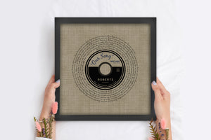 First Dance Record Print, Our Song on Linen, Anniversary Gift on Linen, 4 Year Anniversary Gift, 4th Wedding Anniversary Gift, Song Lyric