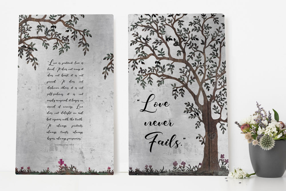 Personalized Wedding Gift, Marriage Tree Art with 1 Corinthians 14:4-8, Christian Wedding Gift, Gift for the Bride from Groom, Vow Print