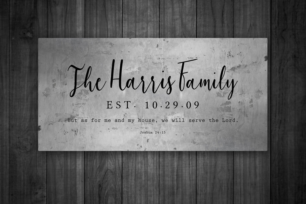 Tin Anniversary Gift, Metal Sign With Family Name, Gift for Husband, As for Me and My House, 10th Anniversary Gift, Custom Joshua 24:15