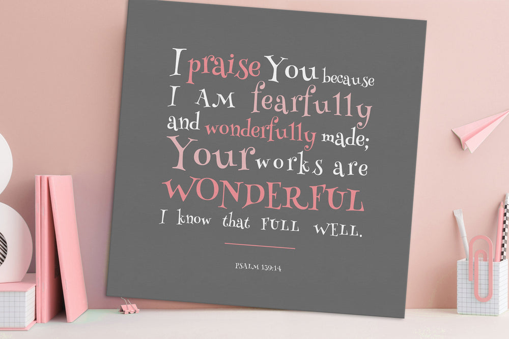 Canvas Bible Verse Decor for Kids,Psalm 139:14,Canvas,Kid's Christian Wall Art,Christian Nursery Art,Children's Scripture Print, Nursery Art