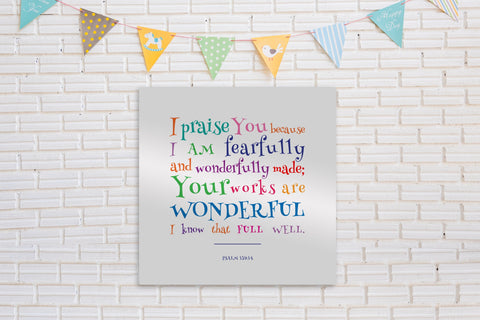 I Am Fearfully and Wonderfully Made, Metal Bible Verse Decor for Kids,Psalm 139:14 for Kids,Kid's Christian Wall Art,Christian Nursery Art