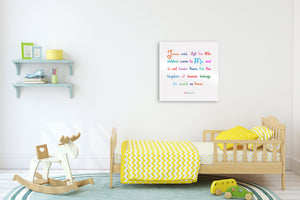 Let the little children come to Me,Matthew 19:14,Christian Bedroom Decor for Kids,Bible Verse Decor for Kids,Kid's Christian Wall Art, Gift