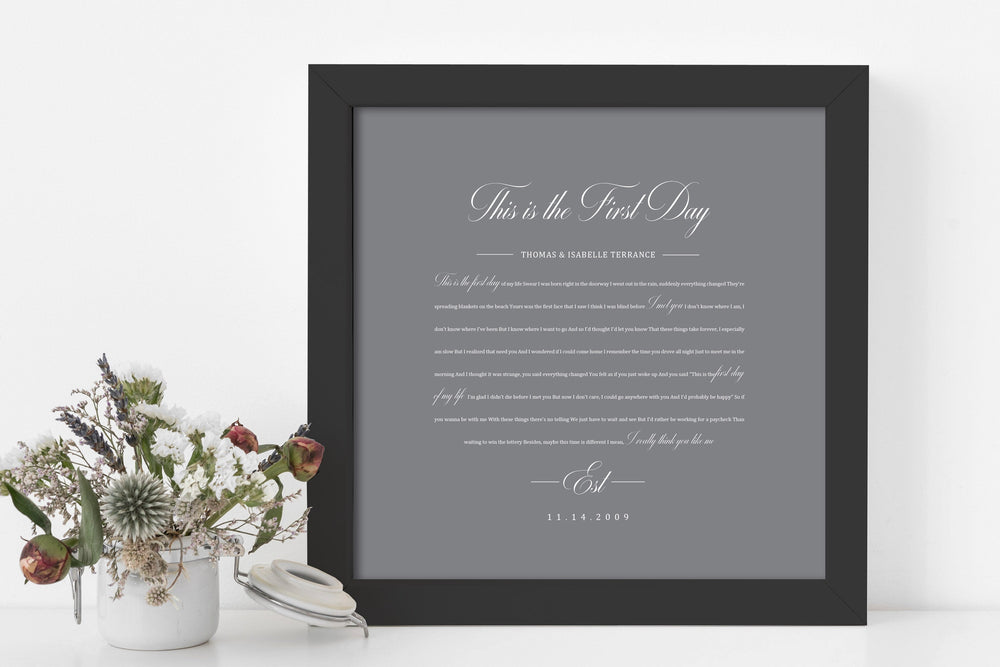 1st Year Anniverary Gift, Paper Anniversary Gift, Song Lyrics on Paper, 1st Wedding Anniversary Gift, Framed Lyric, Song Print, Wedding Gift