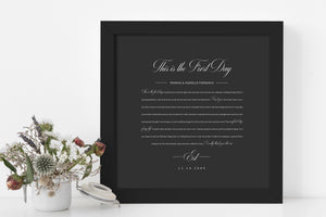Song Lyrics on Paper, 1st Year Anniverary Gift, Paper Anniversary Gift,1st Wedding Anniversary Gift, Framed Lyric, Song Print, Wedding Gift