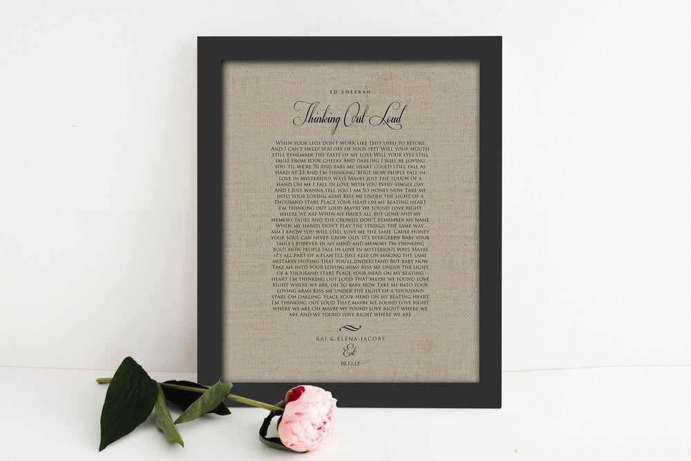 Linen, Anniversary Gift, Linen Print, First Dance Gift, Framed Wedding Song on Linen, 4 Year Anniversary Gift, Framed, 4th Anniversary Gift