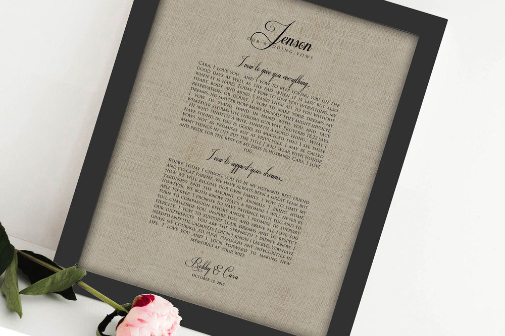 Wedding Vow on Linen, Linen Anniversary Gift, 4 year Anniversary Gift, Linen Wedding Vow Print, Gift for Wife, Framed, 4th Anniversary Gift