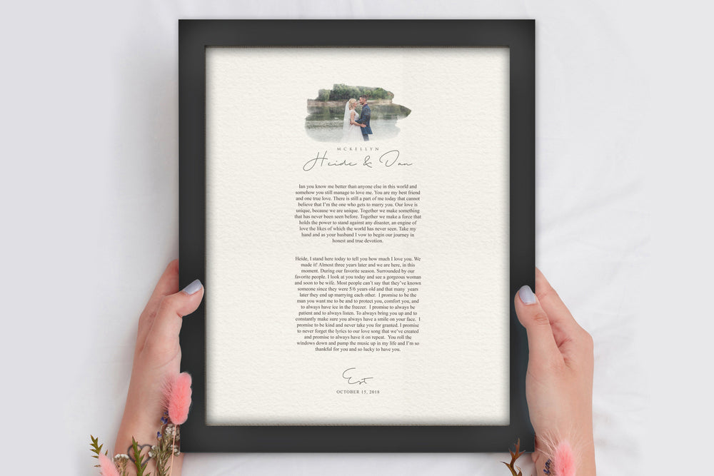 Framed Wedding Vows, Wedding Vow Photo Print, Paper Anniversary Gift for Wife, 1 Year Anniversary Gift, Custom Anniversary Gift with Vows